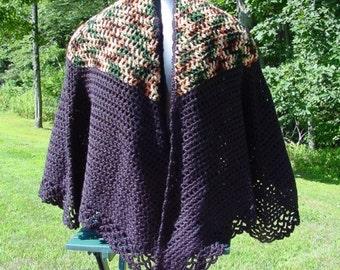 Cape Black With Fall Yoke - Handmade Crochet - Winter Accessory