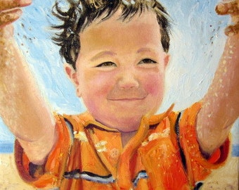 Original Custom Portrait Painting from your photo, oil painting on canvas, children, mother, father, family, example little beach boy