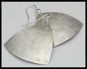 SAND - Handforged Sand Textured German Silver Statement Earrings