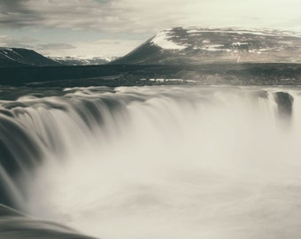 """Iceland Godafoss Waterfall, Landscape Photography, Nature Photography For Him, Neutral Wall Decor, Art Print -  """"Falling Water"""""""