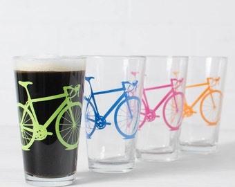 TROPICAL BIKE party - screen printed bicycle pint glasses, set of 4 -Lime, Bluebird, Berry, Tangerine