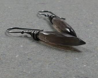 Smoky Quartz Earrings Long Earrings Oxidized Sterling Silver Earrings Brown Gemstone Dangle Earrings