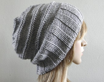 Slouchy hat wide band in light grey gray hand knit pure australian wool warm winter beanie women men teen unisex ribbed slouch