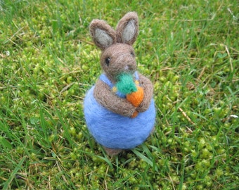 Needle Felted Chubby Rabbit Mr. Cotton Tail Felted figure