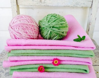 hand dyed pure wool felt in pink or green