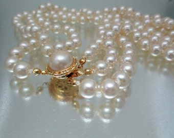 Gorgeous Faux Pearl 3 Strand Necklace Hand Knotted Wedding Pearls Unused
