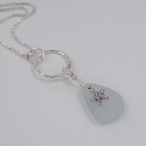 Sea Glass Starfish Charm Necklace Sterling Silver