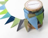 Gray, Blue, Tan, and Sea glass Mix. Beach cottage bunting.  Fabric Cake Mini Bunting. Wooden Spool of Ribbon for gift wrapping.