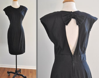 1980s Little Black Dress with Open Back and Bow