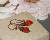 Carnelian Copper Kite Dangle Earring SRA  Bastet's Beads- Copper Kites