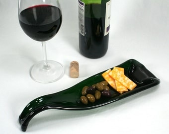 Sleek Dark Green Wine Bottle Molded Serving Tray or Spoon Rest - Recycled Eco-Friendly