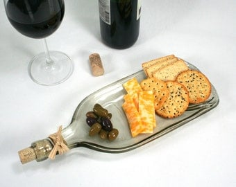 Large Molded Clear Wine Bottle Serving Tray or Spoon Rest with Cork and Raffia - Recycled Eco-Friendly