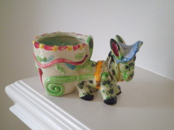 Vintage Ceramic Donkey and Cart Flower Pot / Planter - Made in Japan - Circa 1950s