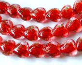 Red Heart Beads, Lampwork Heart Beads, Red Glass Beads, (30)