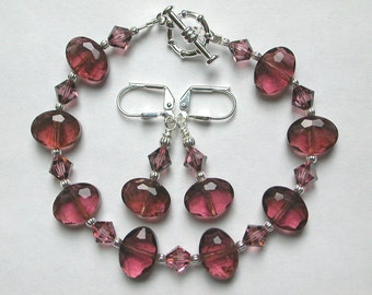 Dusty Rose Bracelet, Pink Crystal Bracelet and Earring Set