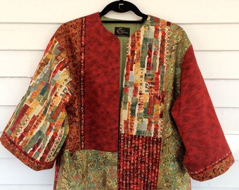 Kimono Style Jacket with Firecracker Red Kanji and Golden Dragon