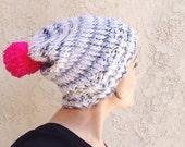 Grey it Ain't So! // slouchy knit beanie // with pom pom // in grey and black