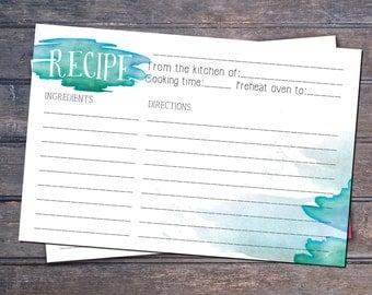 Watercolor Printable recipe card - Instant download  -  6x4