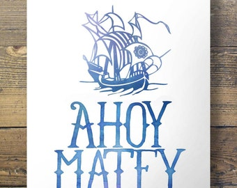 Watercolor 'Ahoy, Matey' - Kids nursery Pirate Printable wall art - Red + Dark and light blue options