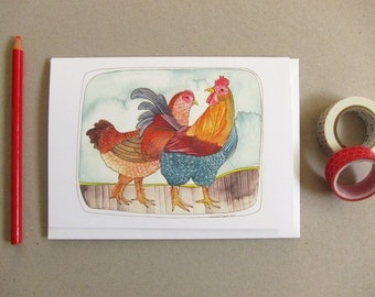 Chicken Card - Everyday Card - Blank Card - Greeting Card - Chicken Greeting Card - Two Chickens