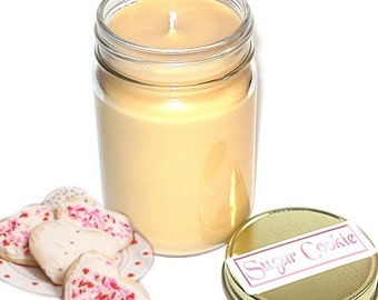 Sugar Cookie Mason Jar Candle 12 Oz Handmade