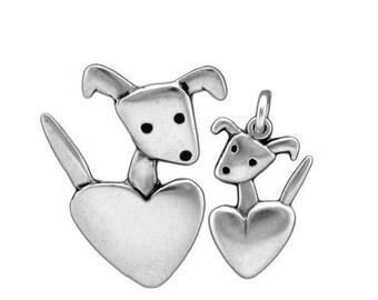 Mother Daughter Dog Necklace Set - Sterling Silver Set of 2 Pocket Pup Pendants