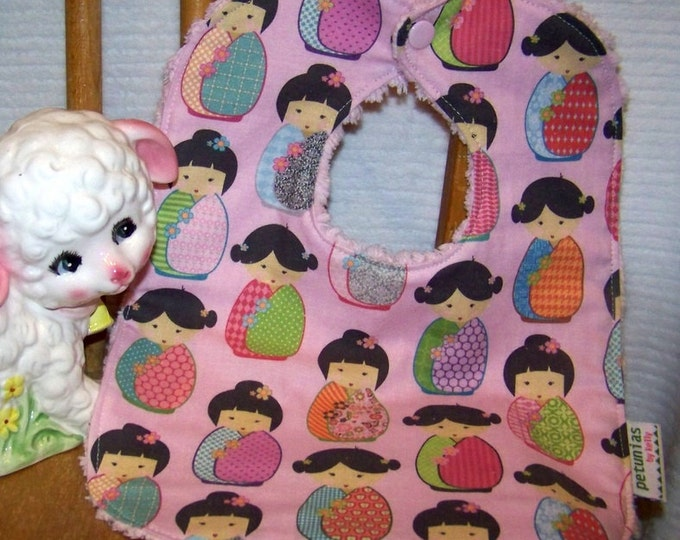 SALE Chenille Bib pink kokeshi dolls snap absorbent gift baby toddler by PETUNIAS