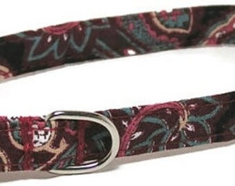 XS Dog Collar - Vintage Wine Paisley - Extra Small, Teacup, Miniature - Fancy, Soft and Handmade