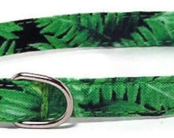 XS Dog Collar - Rainforest Ferns - Extra Small, Teacup, Miniature - Fancy, Soft and Handmade