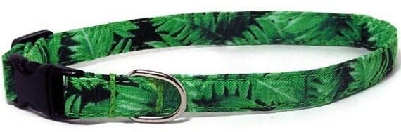 XS Dog Collar - Rainforest Ferns - Extra Small, Teacup, Miniature - Fancy, Soft and Handmade