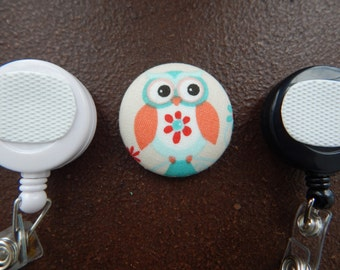 Owl Fabric Covered Button for Clip on Retractable Badge Reel