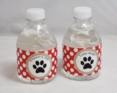 Personalized Puppy Water Bottle Labels- 1st Birthday- Set of 12