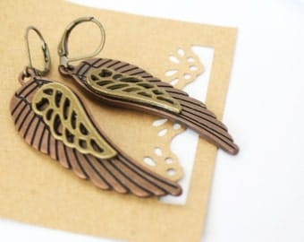 Steampunk Antique Copper and Brass Angel Wings Earrings, Neo-Victorian, Nature Inspired, Wedding, Bridesmaid