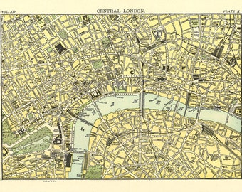 map of London in the 19th century, printable digital download no. 680