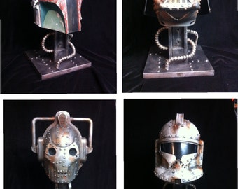 Custom steampunk Helmet Display Stand adjustable Black rusted