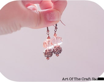 Pink  and Copper Sparkle Dangle Earrings