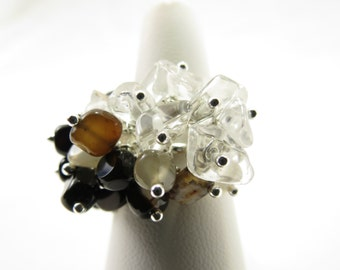 Black and White Sterling Silver Adjustable Christian Ring - Agate Stone, Crystal Quartz  - LIGHT in the Darkness