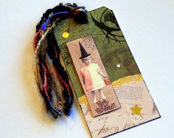 Collaged Shipping Tag - Altered Art - Whimsical Halloween - FREE US SHIPPING