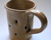Square Cream Mug with Cobalt Dimples Wheel Thrown Pottery