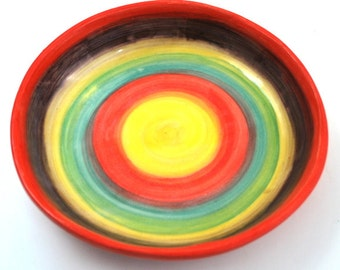 Colorful Bowl Hand Built Stoneware Clay Pottery Free Shipping