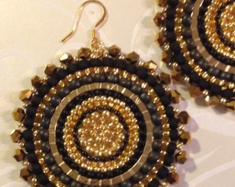 Black and Gold Crystal Goddess Seed Bead Earrings - Big Bold Disc Earrings - Beadwork Jewelry - Statement Jewelry