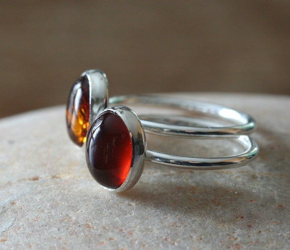 SPECIAL! Amber Ring - Sterling Silver -  Size 8