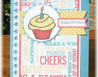 Happy Birthday Cupcake Card, Birthday Cards, Cards with Cupcakes
