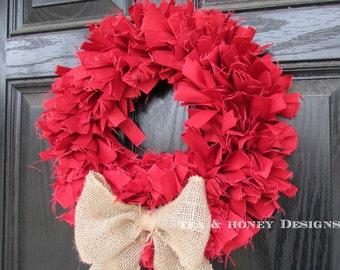 "Red Ribbon Rag Wreath Rustic Decor Round 16"""