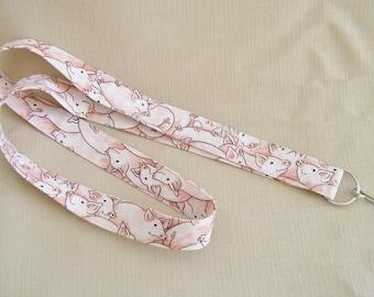 Pigs2 - handmade fabric lanyard