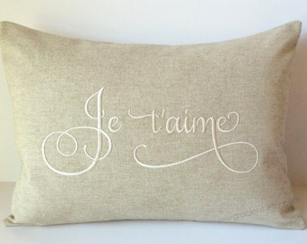 Je t'aime Love Monogram Pillow Cover 12 x 16. French I Love You. France. Foreign Language Throw Pillow. Calligraphy Lettering Font. Romantic