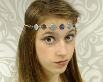 Iridescent Purple and Silver Circlet, Boho Chic Headband, Hippie Chic, Renaissance Circlet, Medieval, Crown, Headpiece, Ready to Ship