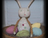 Flash Sale Primitive Easter Blossom Bunny With Eggs