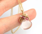 Rose Quartz Necklace with Freeform Gold Fill Coils