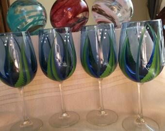 Wine glass/goblet Handpainted, Seattle Seahawks